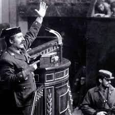 Tte. Ccornel Tejero, último militar en la tribuna del Congreso antes de Felipe VI.