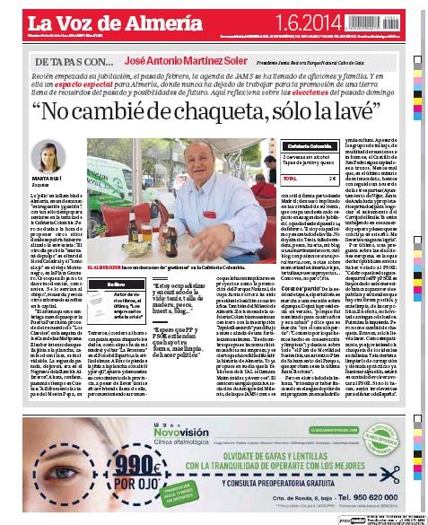 José A. Martínez Soler en la ultima página de La Voz de Almería del 1 de junio de 2014.