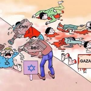 Cobertura mediática de las matanzas de palestinos en Gaza.