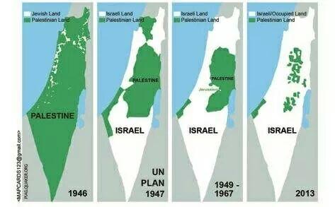Israel se van quedando con toda Palestina... Los palestinos, a las revervas de Gaza y Cisjordania.