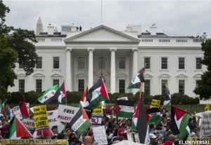 Manifestación pro Palestina ante la Casa Blanca.