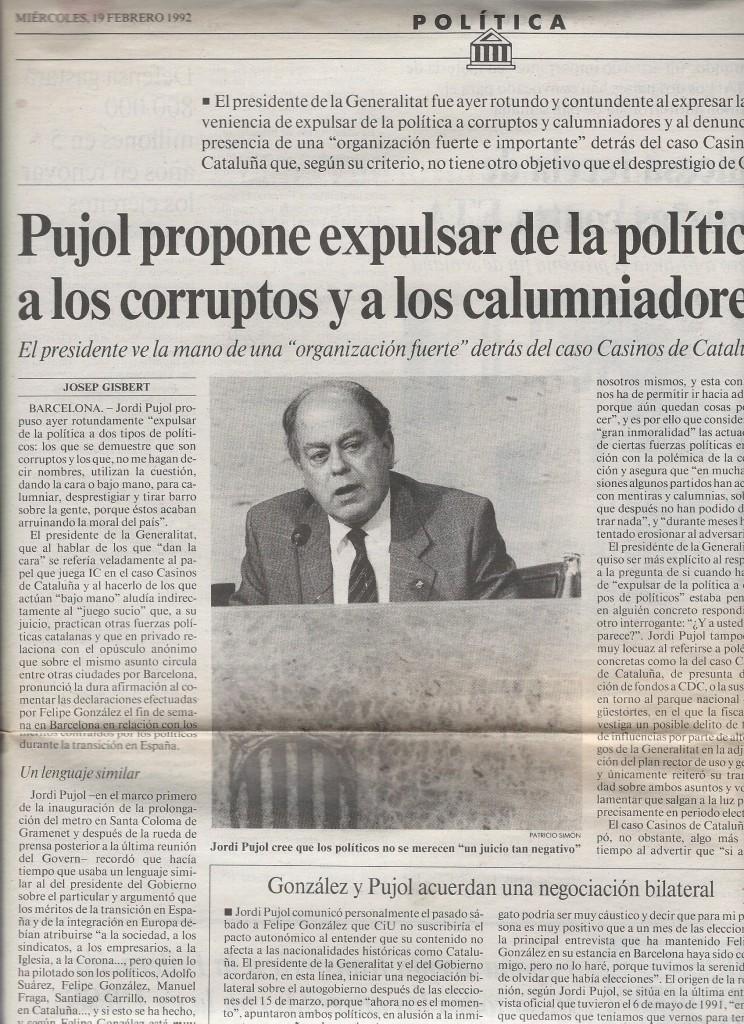 La Vanguardia, 19 de febrero de 1992.