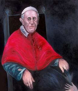 El Papa Francisco. Oleo de Sofía Gandarias que presidió el funeral.