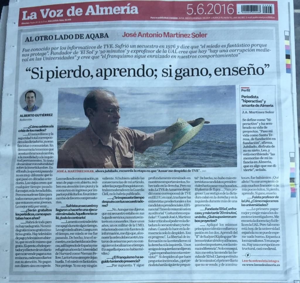 Contraportada del diario La Voz de Almería