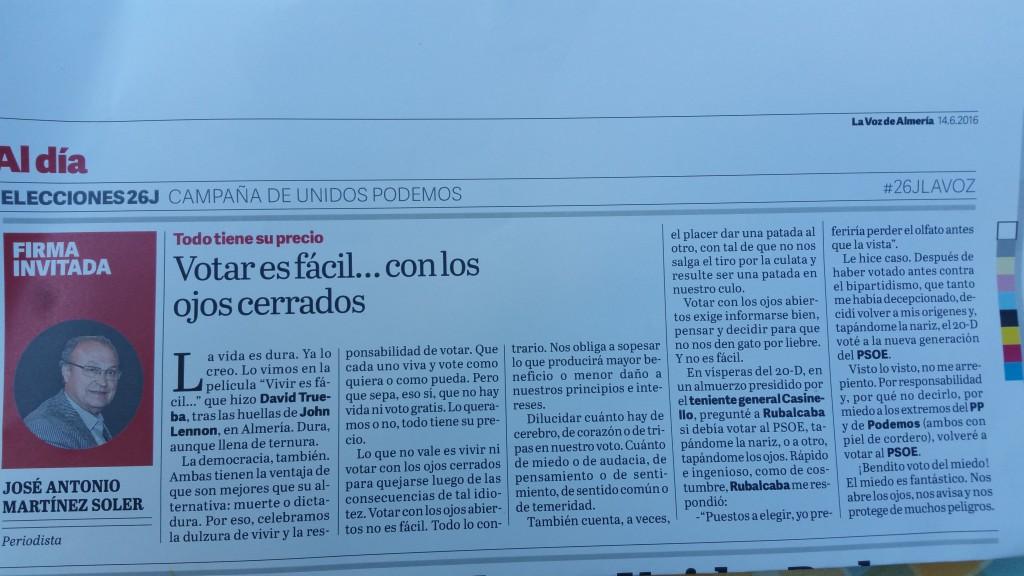 Publicado en La Voz de Almería (14/6/2016)