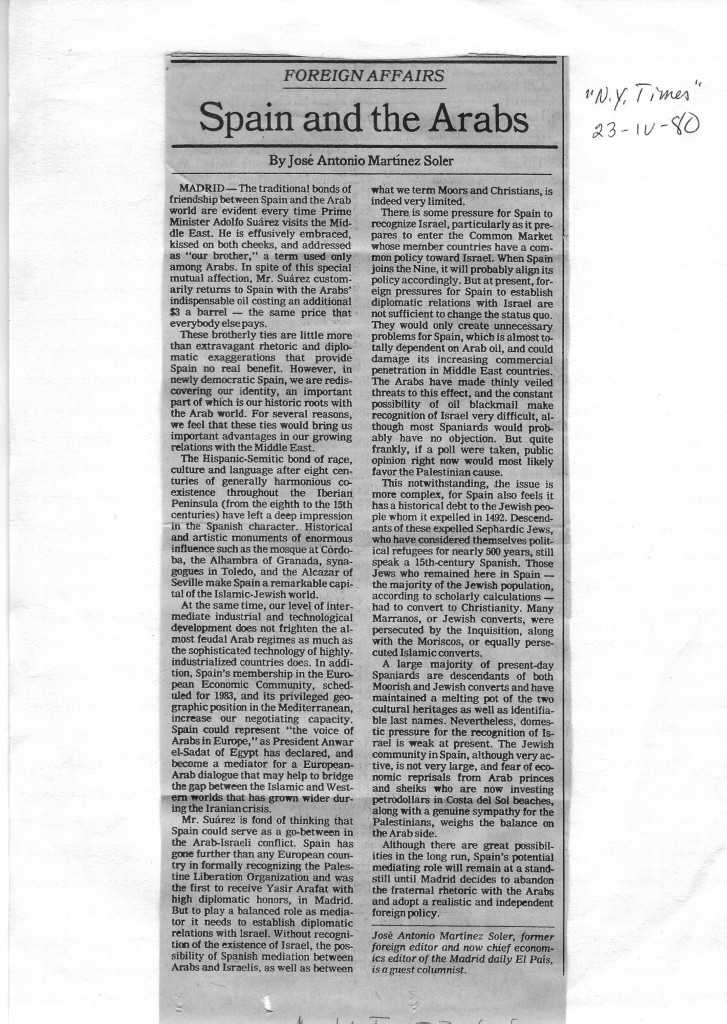 Artículo publicado en la página de opinión del New York Times, el 23 de abril de 1980.